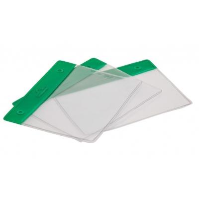 Porte badge souple transparent, bandeau vert, double perforation