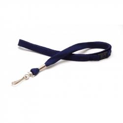Cordon tour de cou sécuritaire bleu marine CUMS10-3 avec mousqueton simplex - Cardalis