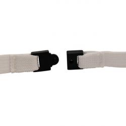 Cordon tour de cou sécuritaire Blanc, attache mousqueton simplex