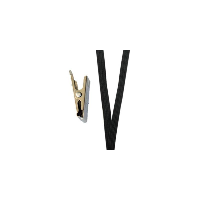 Cordon tour de cou noir CUC10-1 avec clip crocodile - Cardalis