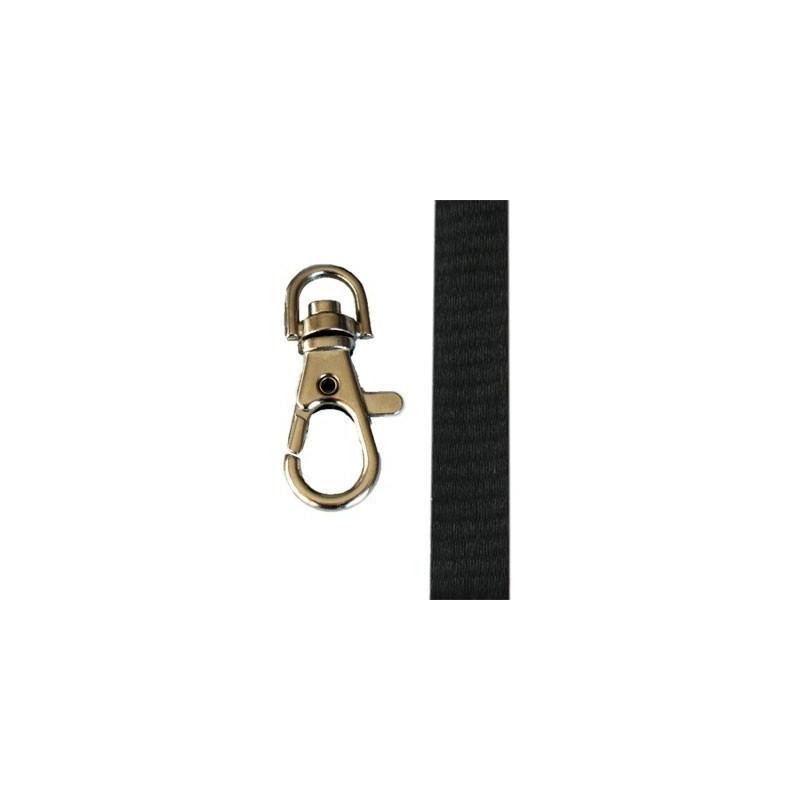 Cordon tour de cou Noir, 15mm pour carte PVC et porte-badge