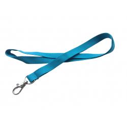 CUM15-PR32 - Cordon tour de cou, mousqueton fermoir, bleu céruléen