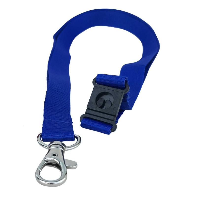 Cordon tramé Premium Bleu Roi 15mm, mousqueton et clip sécuritaire