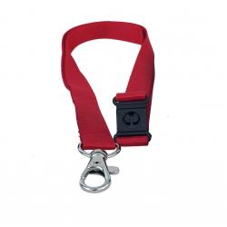 Cordon tramé Premium Rouge 15mm, mousqueton et clip sécuritaire