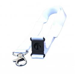 Cordon tramé Premium Blanc 15mm, mousqueton et clip sécuritaire