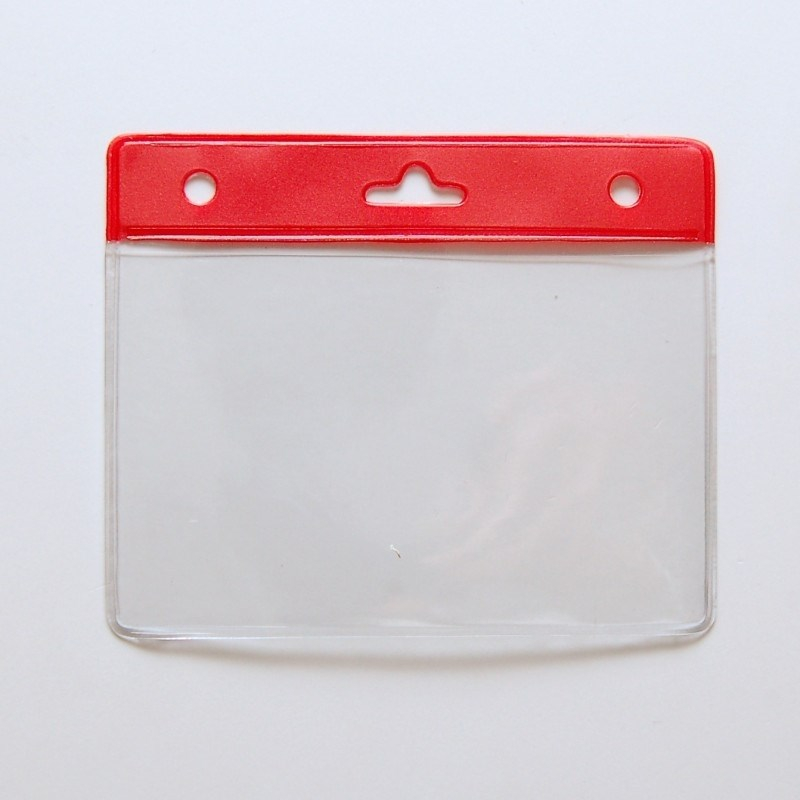 Porte badge souple PBS006-H6 avec bandeau rouge - Cardalis