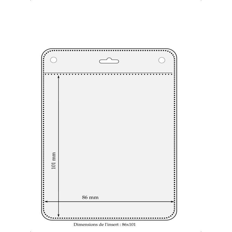 Porte badge souple vertical 86x101mm pour badges - Cardalis