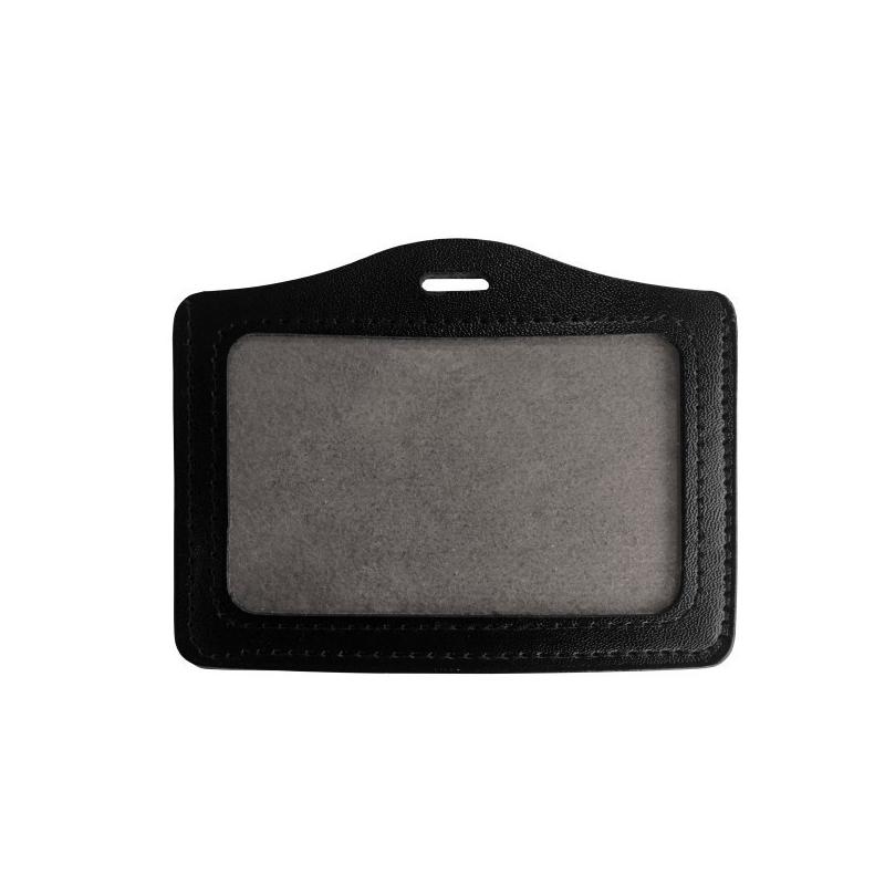 Porte badge en cuir noir format standard horizontal - Cardalis