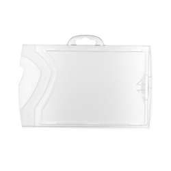 Porte-badge rigide horizontal cristal/cristal pour carte 86x54mm
