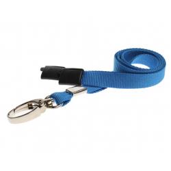 CUSL10-1 - Cordon sécuritaire 10 mm, mousqueton Deluxe - Bleu clair