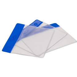 PBS006-H2 - Porte badge souple avec bandeau bleu - Cardalis