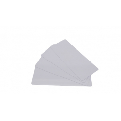 C4122-100 - Cartes longues blanches PVC brillant 50x120 mm, 0.50mm, lot de 100