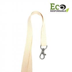 CUM15-ECO-COTON - Cordon coton 15 mm, mousqueton fermoir sans nickel