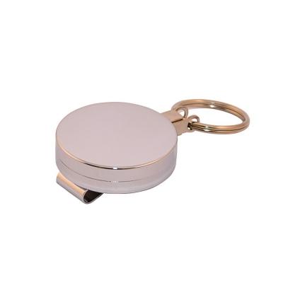 Enrouleur chrome avec anneau, fil acier extension 90 cm