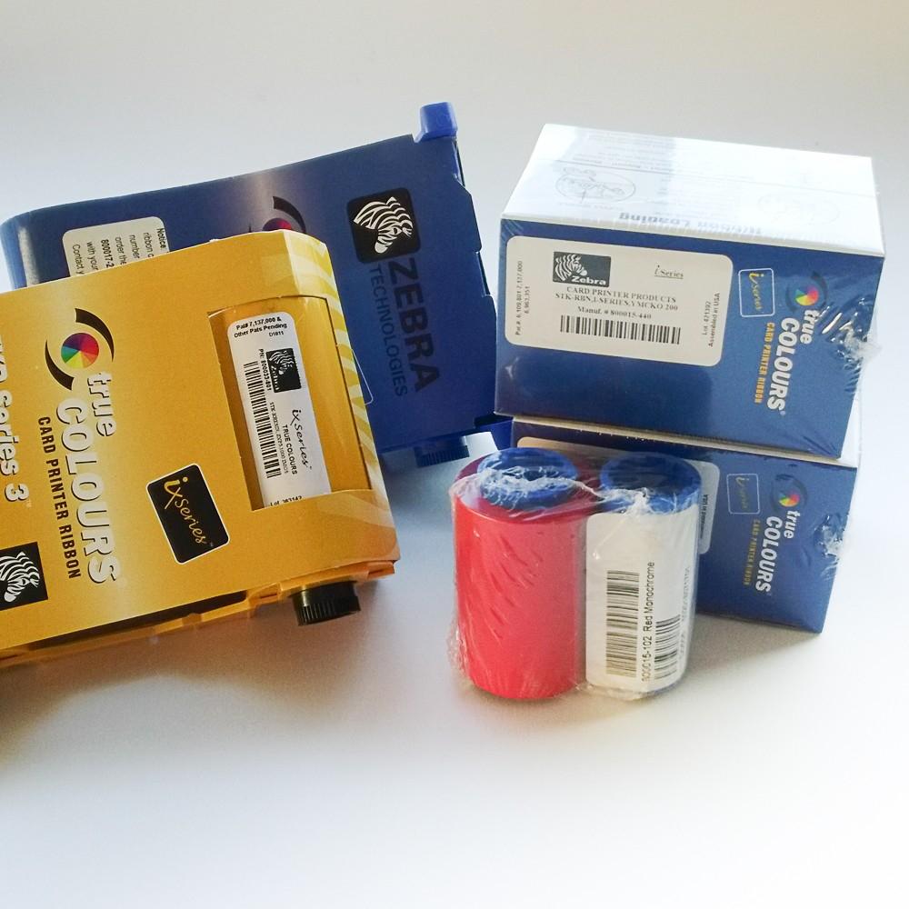Consommables, rubans d'impression pour imprimantes badges Zebra